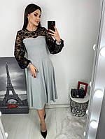 Женское платье из люрекса с ажурными рукавами, фото 1