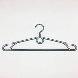 Пластмассовые плечики вешалки тремпеля для одежды W-S40 серебристого цвета, длина 400 мм