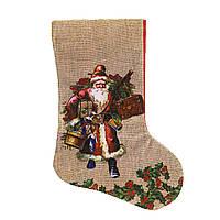 Шкарпетка новорічна мішковина Дід Мороз 26*16 см