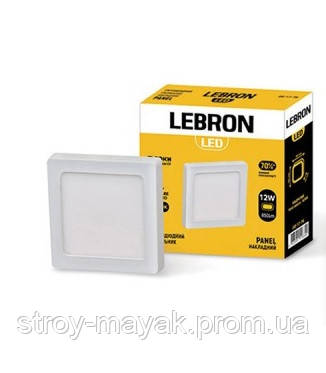 Светодиодный LED светильник LEBRON L-PSS-1241, 12W, 170 * 170мм * 36мм, 4100K, 850LM, накладной, яркий свет
