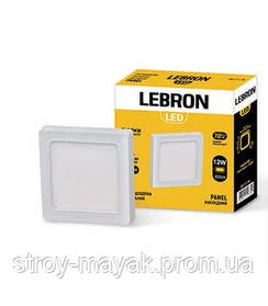 Світлодіодний світильник LED LEBRON L-PSS-1241, 12W, 170 * 170мм * 36мм, 4100K, 850LM, накладної, яскраве світло