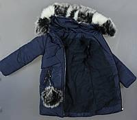 Зимняя курточка с цветным капюшоном для девочек, фото 1