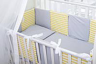 Бортики в детскую кроватку Хлопковые Традиции 30х30 см 12 шт Серый с желтым, КОД: 1639812