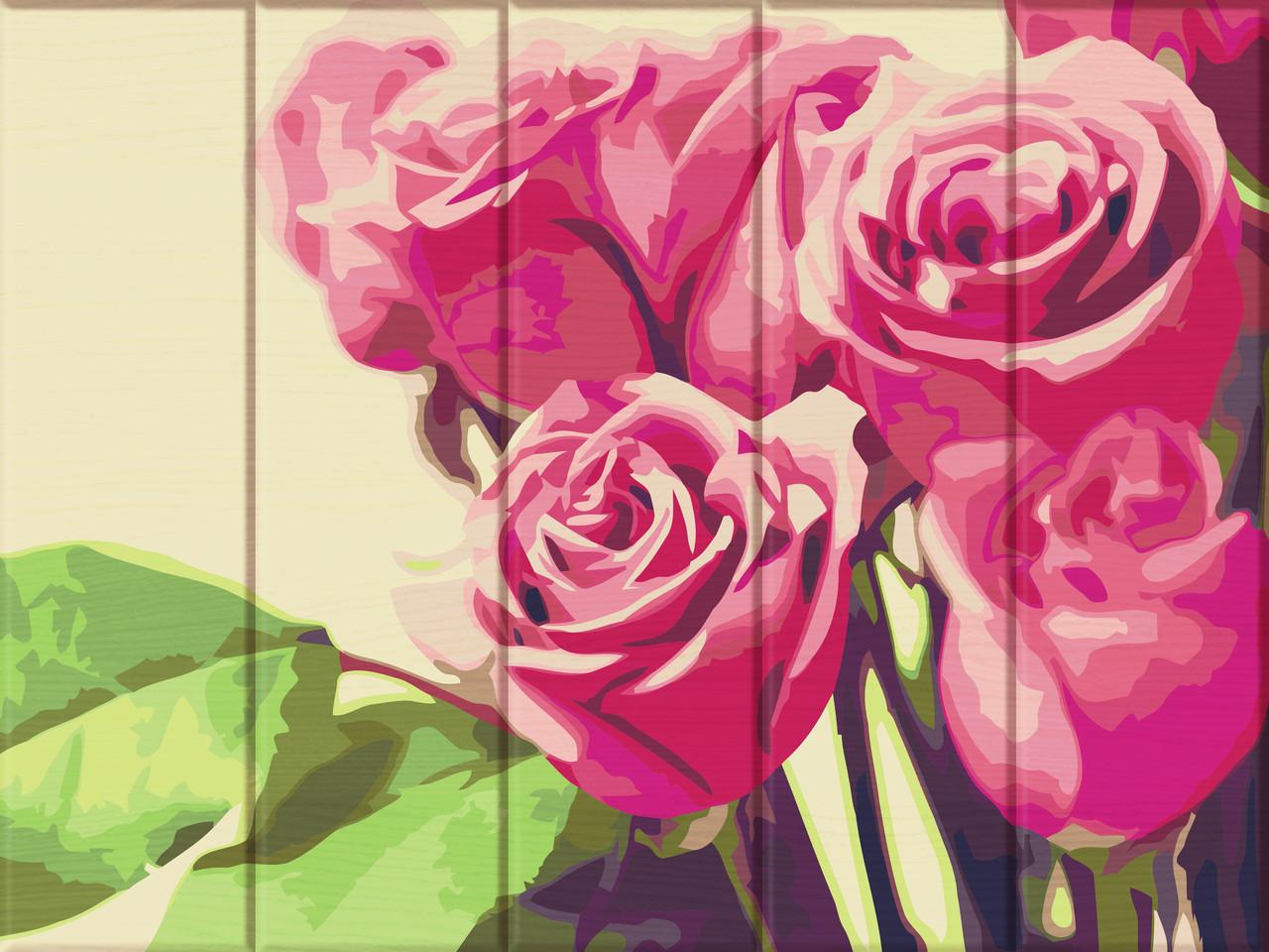 Картина по номерам на дереве ArtStory Розовые розы 30*40 см