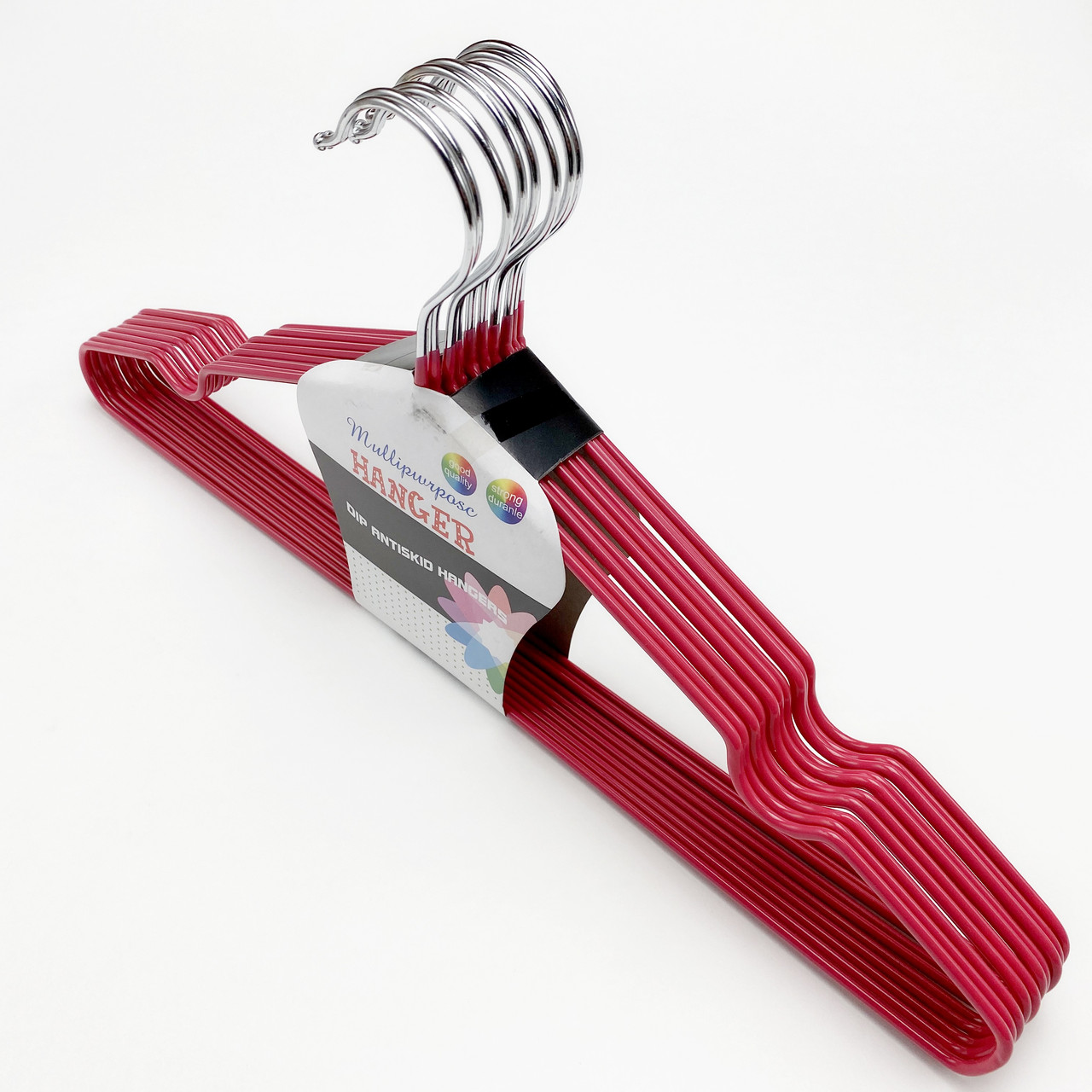 Вешалки плечики 10 шт. металлические в силиконовом покрытии красного цвета толщина 3.4 мм