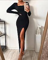 Жіноче плаття в підлогу з розрізом на стегні під горло