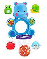 "Игрушка для купания баскетбол ""Бегемот"" сетка, мячик, 4 брызгалки Игрушка для купания ребенка"