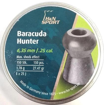 Пули пневм Haendler Natermann Baracuda Hunter 6,35 mm , 1,78 г, 150 шт/уп., фото 2
