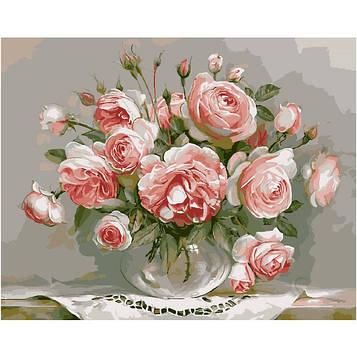 Картина за номерами 40х50 см DIY Букет рожевих квітів (NX 9291)