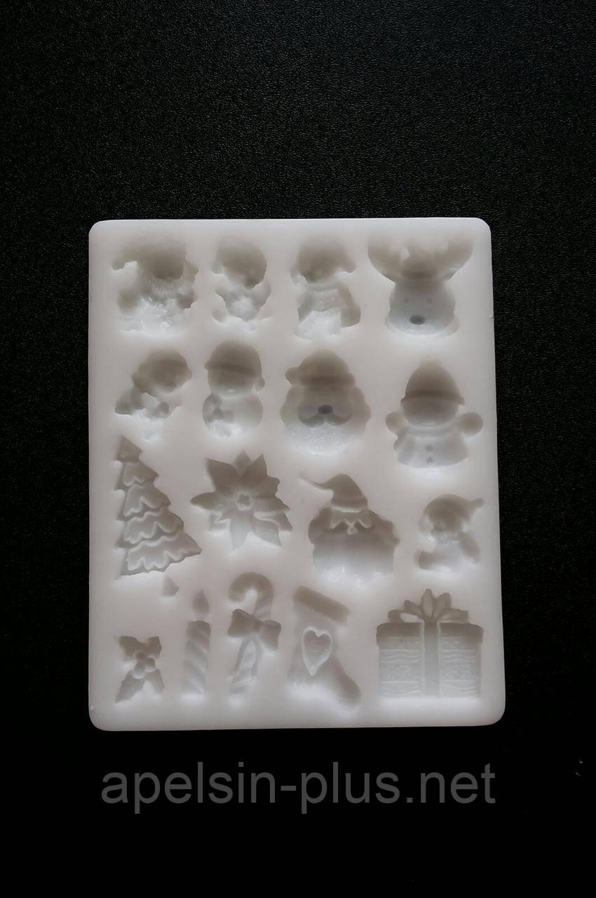 Молд силиконовый Новогодний набор ассорти №3 на 17 фигурок