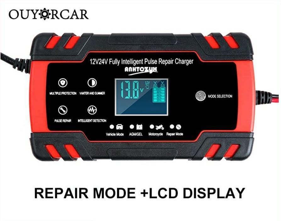 Интеллектуальное автоматическое автомобильное зарядное устройство OUYORCAR для аккумуляторов 12В 8А/24B 4A