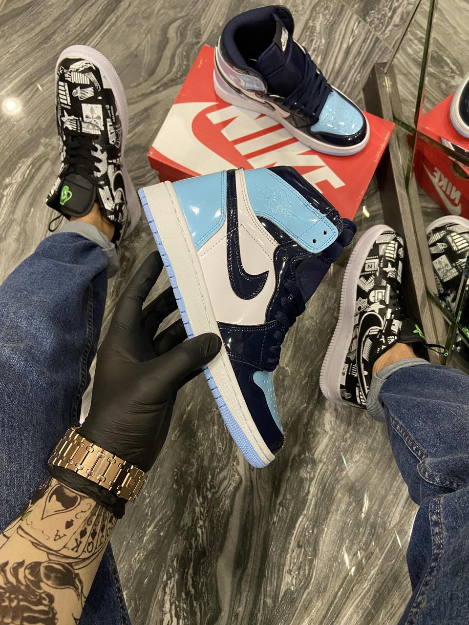 Nike Air Jordan 1 Blue Black (Блакитний)