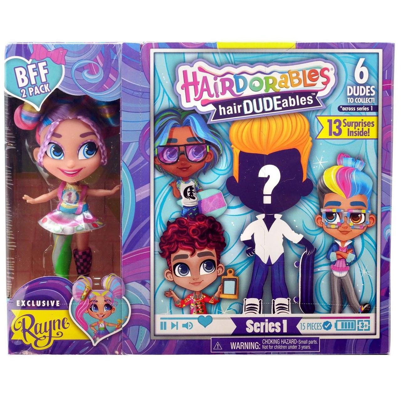 Набор-сюрприз Hairdorables мальчик и девочка Rayne | Набор 2 куклы He and She Хэрдораблс
