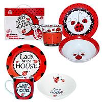 Набор посуды детской фарфоровой Божья коровка 3 предмета (тарелка, салатник, чашка)