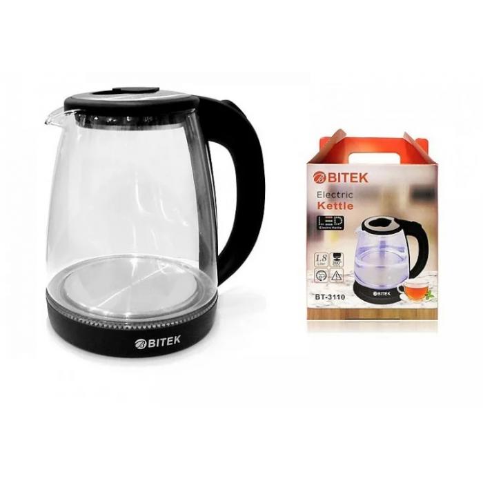 Электро чайник ВIТЕК ВТ-3110 2400W 1,8L стекло с подсветкой Чёрный