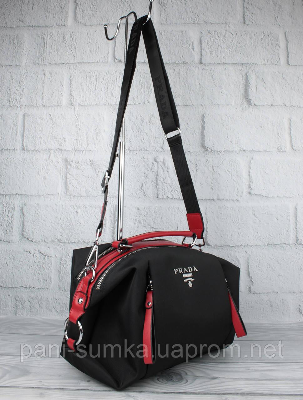 Стильная сумочка Prada 903 черная с красным текстильная, расцветки, формат А-4