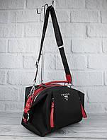Стильная сумочка Prada 903 черная с красным текстильная, расцветки, формат А-4, фото 1