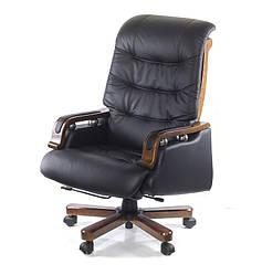 Кресло офисное на колесиках Сфинкс EX RL компьютерное кресло кожаное, черное с нагрузкой до 120 кг