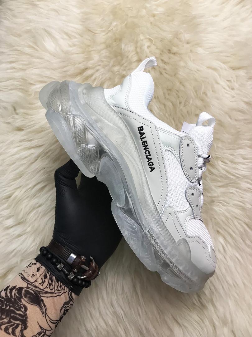 Balenciaga, крос, обувь, взуття, sneakers, Triple S Clear Sole White Grey (Серый)40 (25,5 см)р.