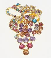 """Брошь """"Виноградная гроздь с цветными стразами"""" цвета в ассортименте (цвет уточнять), фото 1"""