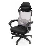 Крісло офісне на коліщатках АКЛАС Мердок PL RL комп'ютерне крісло сітка, сіре з навантаженням до 120 кг