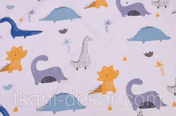 Сатин (хлопковая ткань) дракончики нарисованные (65*160)