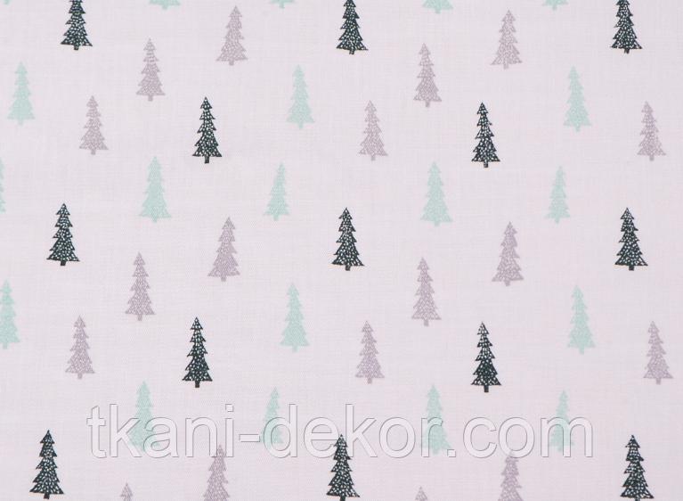 Сатин (хлопковая ткань) серо-мятные мелкие елки (70*160)