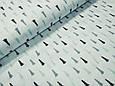 Сатин (хлопковая ткань) серо-мятные мелкие елки (70*160), фото 2