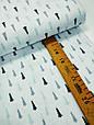 Сатин (хлопковая ткань) серо-мятные мелкие елки (70*160), фото 3