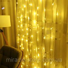 Гирлянда штора водопад 320 LED 3м/2м теплый цвет на прозрачном проводе, фото 3