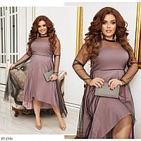 Женское Красивое Платье Батал с блестками на сетке, фото 1