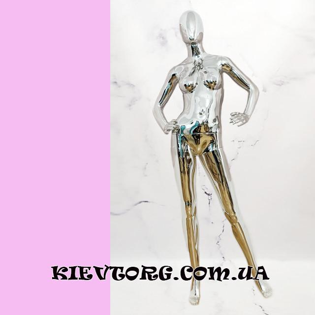 Женский манекен серебрянный зеркальный безликий абстрактный для магазина