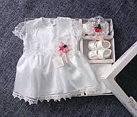 НЕДОРОГО Красивейший крестильный набор для девочки недорого Турция на 1-3 мес. (набор для крещения на девочку), фото 1