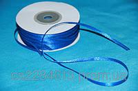 Лента атласная   0.3 см ,цвет - синий 1м