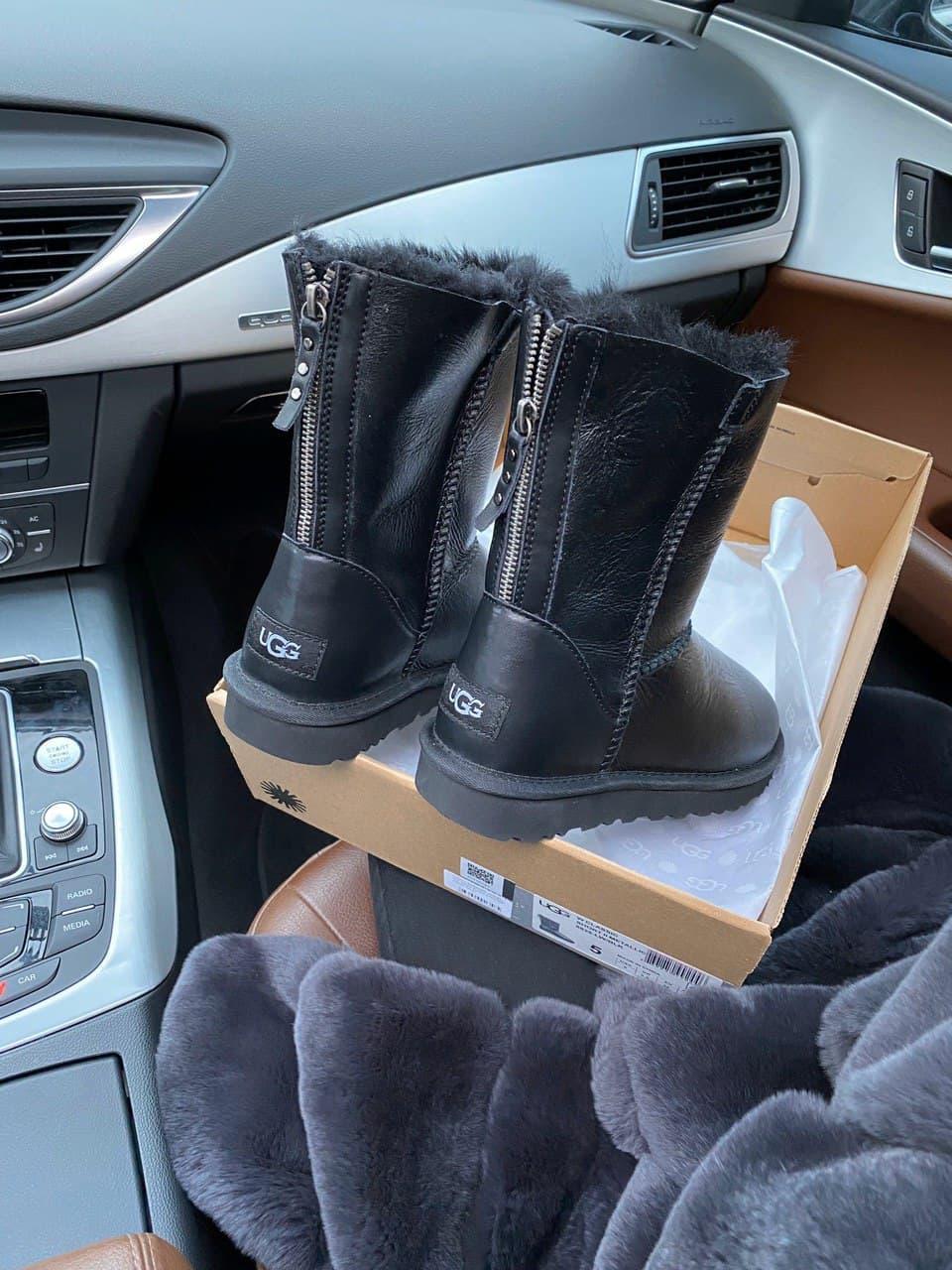 Женские UGG кожаные черные (копия)