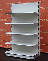 Торговый пристенный (односторонний) стеллаж «Тегометал» 210х125 см., (Украина), белый, Б/у, фото 1