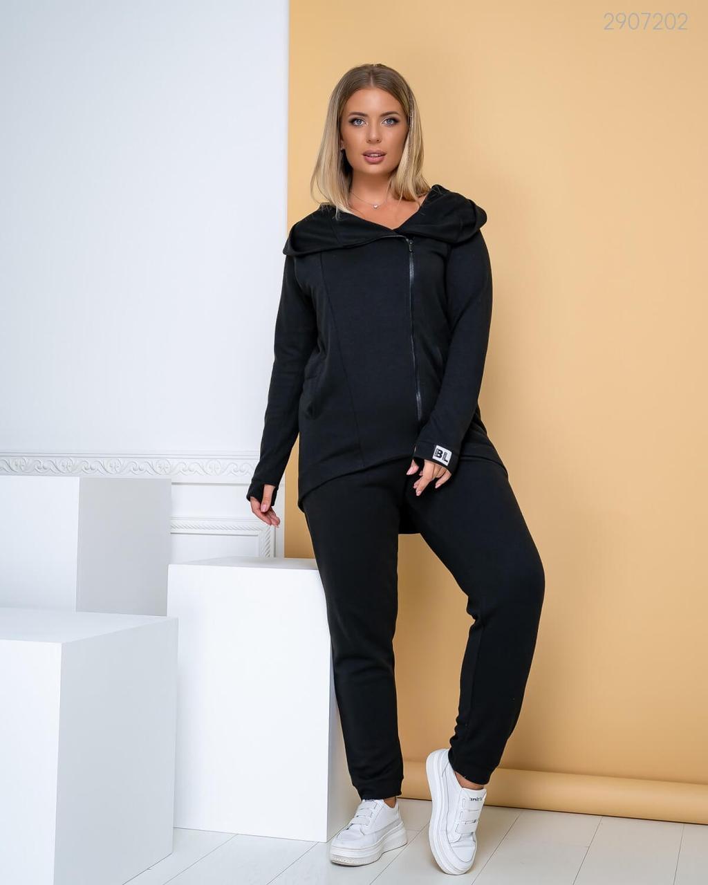 Р. 50-54 Модный спортивный костюм большого размера №18 черный