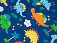 Сатин (хлопковая ткань) на синем фоне динозавры (35*240), фото 2