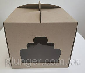 Коробка картонна для торта 30 см х 30 см х 25 см бура (30Т) ДА