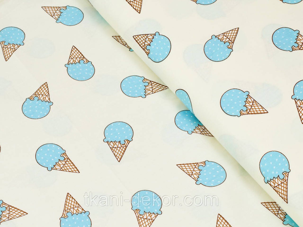 Сатин (хлопковая ткань) голубые мороженки (20*150)