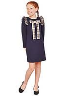 """Платье  для девочки с рукавом   М -1154 рост 104 110 116 122 128 134 140 трикотажное  синее тм """"Попелюшка"""", фото 1"""