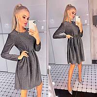 Женское блестящее расклешенное платье с длинным рукавом