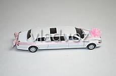 Машинка лимузин Limousine Wedding Love метал 1:38 белая, фото 3