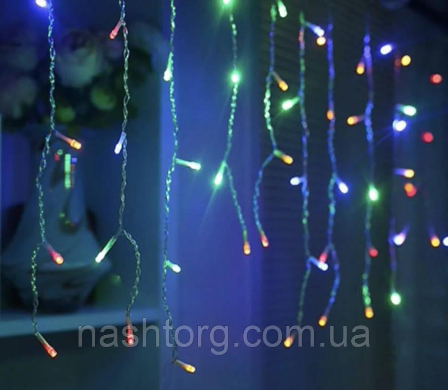 Светодиодная гирлянда Бахрома 120 LED 2.3 метра, подсветка - разноцветная -новогодняя на окно ёлку