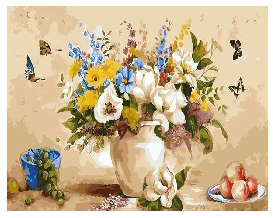 Картина по номерам 40х50 см DIY Разноцветный букет в вазе (NX 9268)