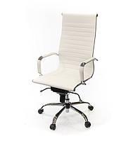 Кресло офисное на колесиках АКЛАС Кап CH MB компьютерное кресло экокожа, белое с нагрузкой до 120 кг