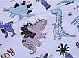 Сатин (хлопковая ткань) динозавры и бронтозавры на голубом (50*160), фото 2