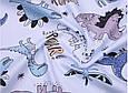 Сатин (хлопковая ткань) динозавры и бронтозавры на голубом (50*160), фото 3