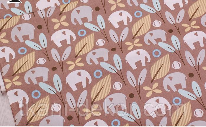 Сатин (хлопковая ткань) на коричневом фоне слоны и цветы (35*160)