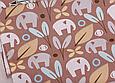 Сатин (хлопковая ткань) на коричневом фоне слоны и цветы (35*160), фото 2